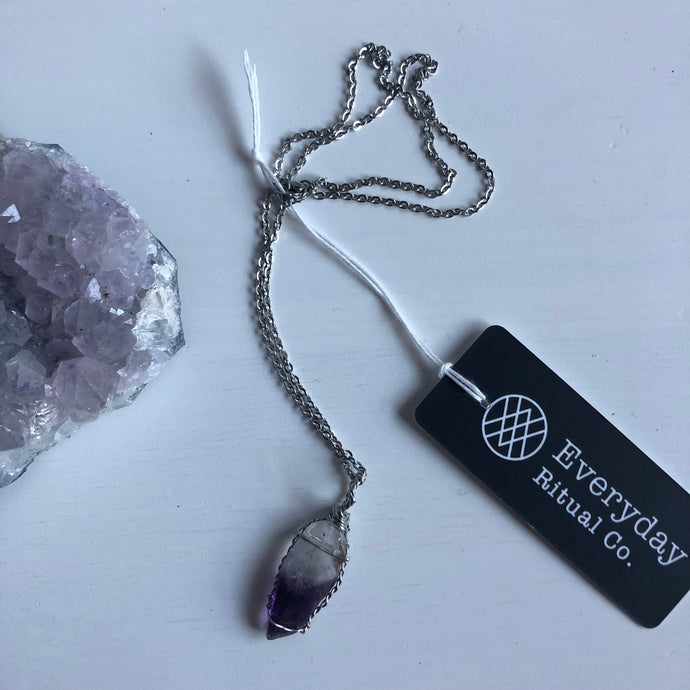Amethyst and Silver Healing Crystal Necklace