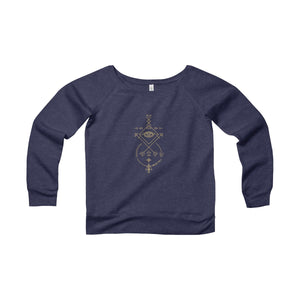 Gold Sacred Geometry Fleece Wide Neck Sweatshirt