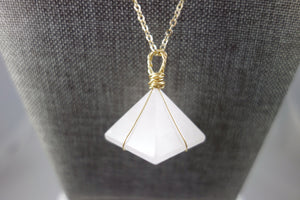 Gold Wrapped Rose Quartz Pyramid Crystal Necklace
