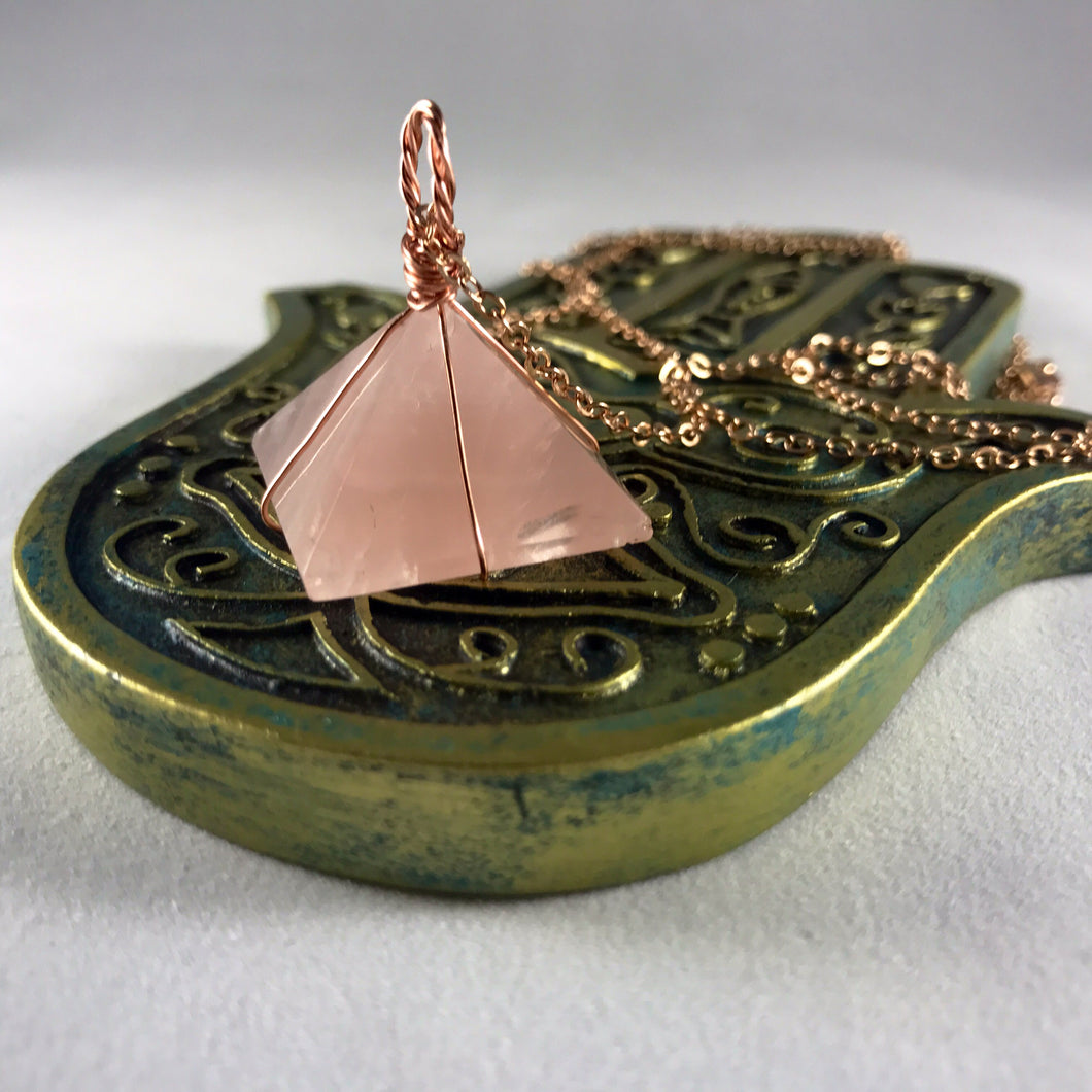 Rose Gold Wrapped Rose Quartz Pyramid Crystal Necklace