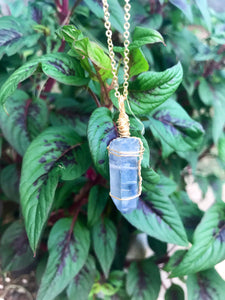 Aqua Aura Quartz Crystal Necklace
