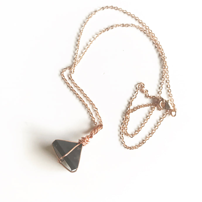 Rose Gold Wire Wrapped Black Tourmaline Pyramid Necklace