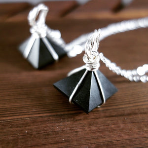 Wire Wrapped Black Tourmaline Pyramid Necklace