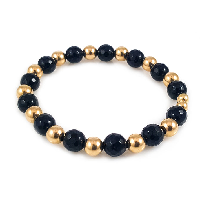Black Onyx and 14k Gold Men Bracelet