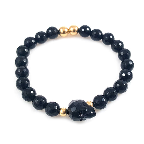Black Skull Swarovski Crystal Men Bracelet
