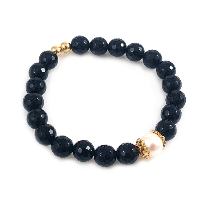 Pearl diamond cut black onyx 14k gold bracelet