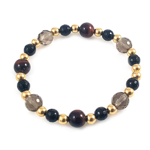Multi-Stone Red Tiger Eye 14k Gold Men Bracelet