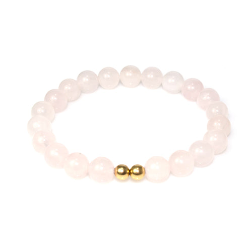 Rose Quartz 14k Gold Women Bracelet