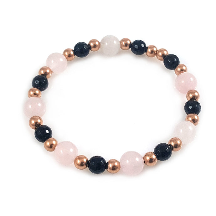 14k Rose gold and Rose Quartz Women Bracelet