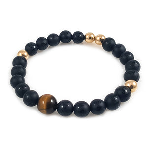 Black Onyx and Tiger Eye 14k Gold Men Bracelet