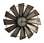 Gianna's Home Rustic Farmhouse Metal Windmill Wall Clock 14-1/2 in. - Gianna's Home