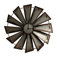 Gianna's Home Rustic Farmhouse Metal Windmill Wall Clock 18-1/2 in. - Gianna's Home