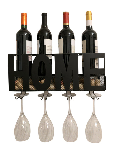 Gianna S Home Metal Wall Mounted Wine Rack And Cork Holder