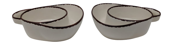 Gianna's Home Set of 2 Rustic Farmhouse Stoneware Soup & Side Chip & Dip Bowls With Handles (Ivory) - Gianna's Home