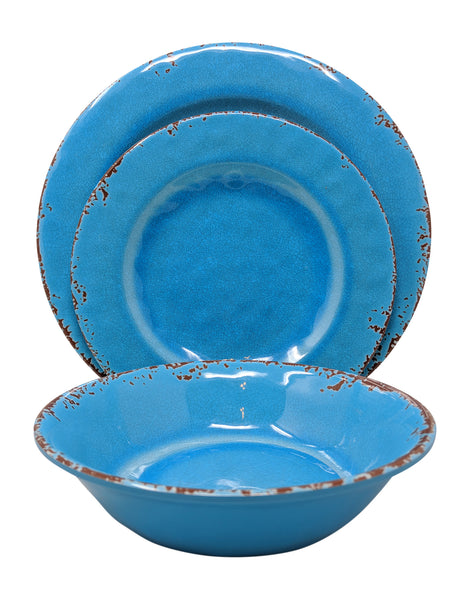 Gianna's Home 12 Piece Rustic Farmhouse Melamine Dinnerware Set, Service for 4 (Easter Egg Blue) - Gianna's Home