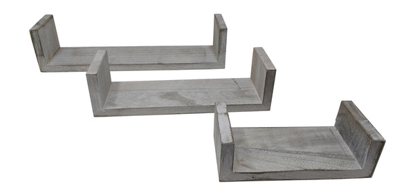 Gianna's Home Set of 3 Rustic Farmhouse Distressed Country Floating Shelves (U-Shaped) - Gianna's Home