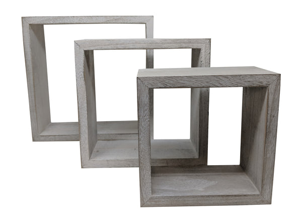 Gianna's Home Set of 3 Rustic Farmhouse Distressed Country Floating Shelves (Square) - Gianna's Home