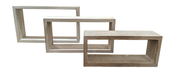 Gianna's Home Set of 3 Rustic Farmhouse Distressed Country Floating Shelves (Rectangle)