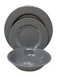 Gianna's Home 12 Piece Rustic Farmhouse Melamine Dinnerware Set, Service for 4 (Solid Gray) - Gianna's Home