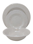Gianna's Home 12 Piece Rustic Farmhouse Melamine Dinnerware Set, Service for 4 (Solid Ivory) - Gianna's Home