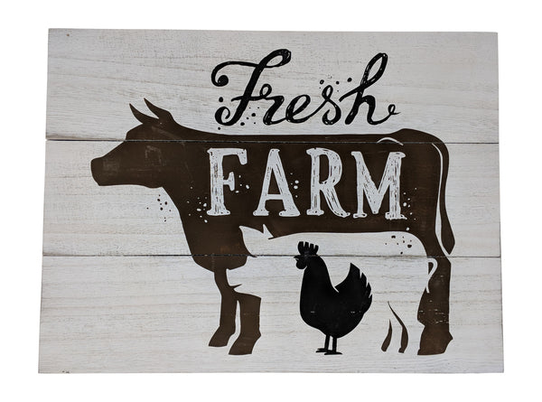 Gianna's Home Rustic Farmhouse Distressed Wood Plank Board Sign (Fresh Farm) - Gianna's Home