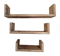 Gianna's Home Set of 3 Rustic Farmhouse Distressed Country Floating Wood Wall Shelves (U-Shaped (Torched)) - Gianna's Home