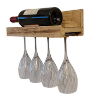 Gianna's Home Rustic Farmhouse Wood Wall Mounted Wine Rack with Glass Holder (Torched Wood) - Gianna's Home