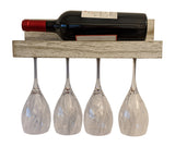 Gianna's Home Rustic Farmhouse Country Distressed Wood Wall Mounted Wine Rack with Glass Holder (Rustic White) - Gianna's Home