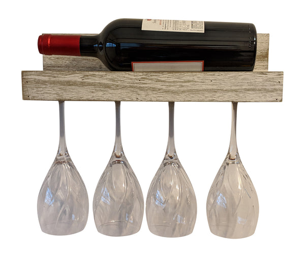 Gianna's Home Rustic Farmhouse Wood Wall Mounted Wine Rack with Glass Holder (Rustic White) - Gianna's Home