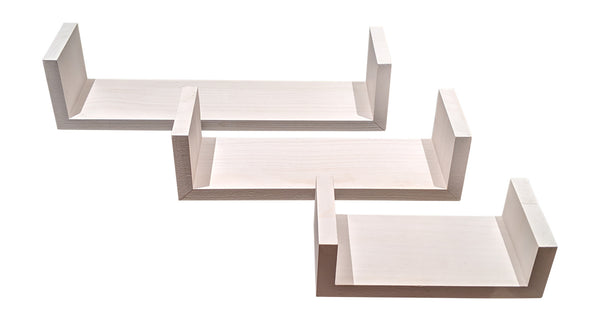 Gianna's Home Set of 3 Wood Floating U-Shaped Shelves (White) - Gianna's Home