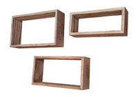Gianna's Home Set of 3 Rustic Farmhouse Floating Wood Wall Shelves (Rectangle (Torched)) - Gianna's Home