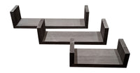 Gianna's Home Set of 3 Wood Floating U-Shaped Shelves (Black) - Gianna's Home