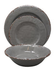 Gianna's Home 12 Piece Rustic Farmhouse Melamine Dinnerware Set, Service for 4 (Gray) - Gianna's Home