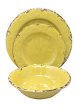 Gianna's Home 12 Piece Rustic Farmhouse Melamine Dinnerware Set, Service for 4 (Yellow)
