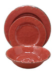 Gianna's Home 12 Piece Rustic Farmhouse Melamine Dinnerware Set, Service for 4 (Red)