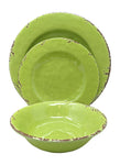 Gianna's Home 12 Piece Rustic Farmhouse Melamine Dinnerware Set, Service for 4 (Green)