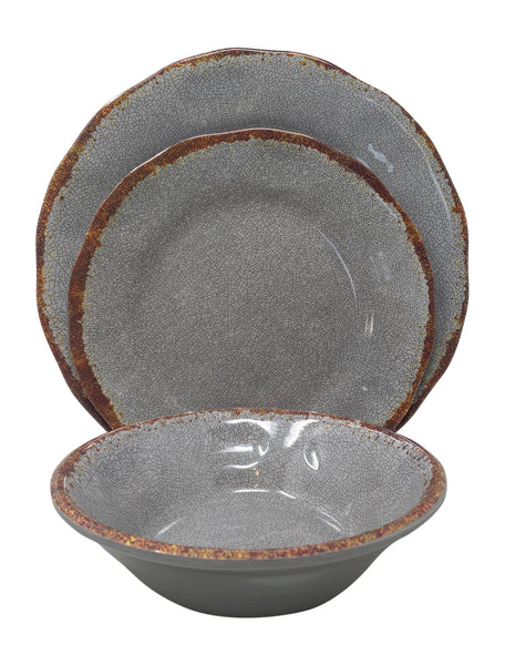 Gianna's Home 12 Piece Rustic Farmhouse Melamine Dinnerware Set (Gray) - Gianna's Home