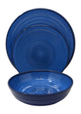 Gianna's Home 12 Piece Modern Melamine Heavyweight Plastic Dinnerware Set (Blue)