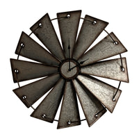 Gianna's Home Rustic Farmhouse Country Metal Windmill Wall Clock 24 in. - Gianna's Home