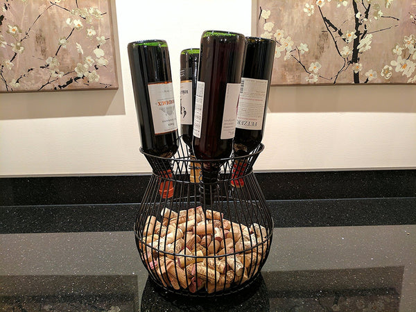 Gianna's Home Metal Wine Barrel Cage Cork and Bottle Holder - Gianna's Home