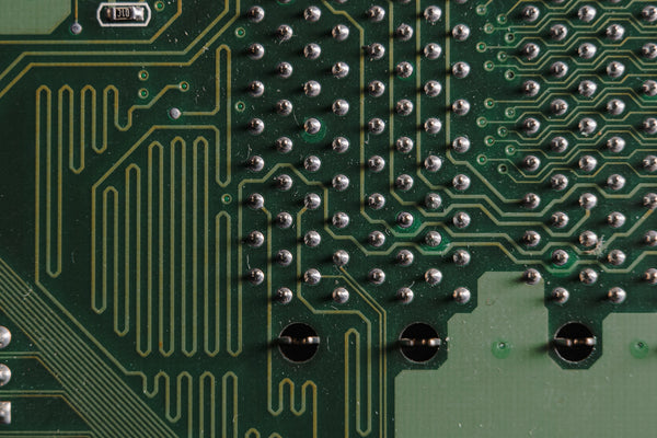 A green color circuit board with solder masks