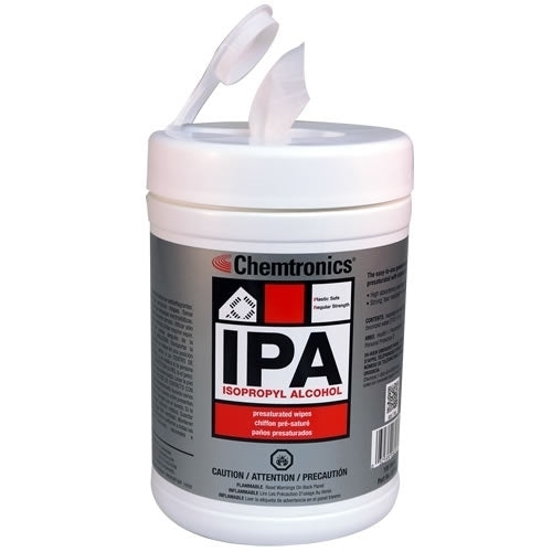 Chemtronics SIP100P Isopropyl Stencil Wipes | Pre-saturated with 70% IPA and 30% deionized water | 100/tub