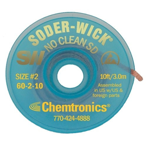 Chemtronics 60-2-10 Soder-Wick No Clean Desolder Braid | 10FT roll on ESD Safe Bobbin | Pack of 25