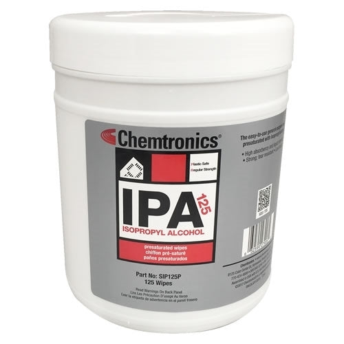 Chemtronics SIP125P Isopropyl Stencil Wipes | Pre-saturated with 70% IPA and 30% deionized water | 125/tub