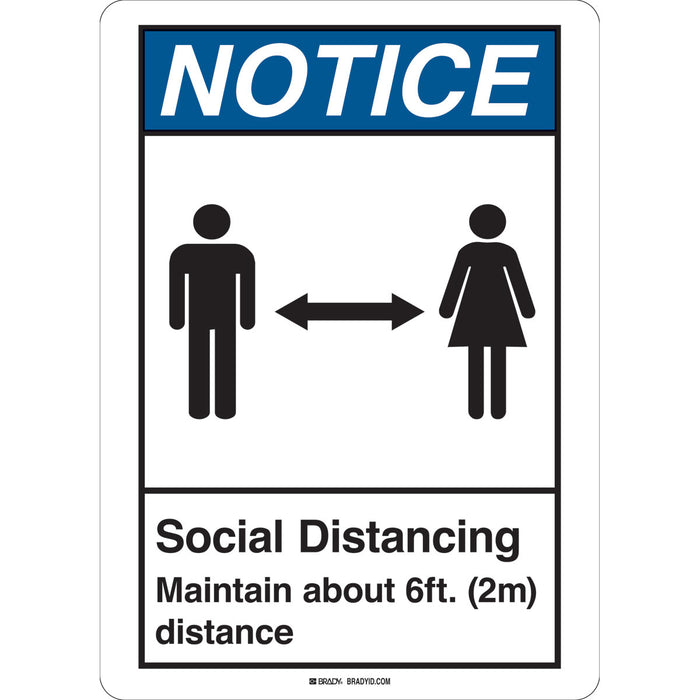 "Brady 170207  ""Social Distancing Maintain About 6' Distance"" Sign"