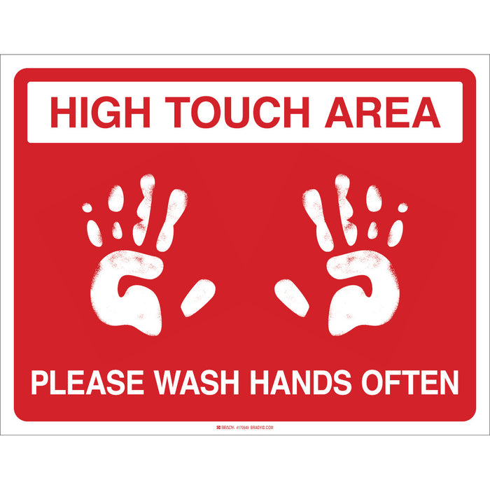 "Brady 170549 ""High Touch Area Please Wash Hands Often"" Floor Sign"