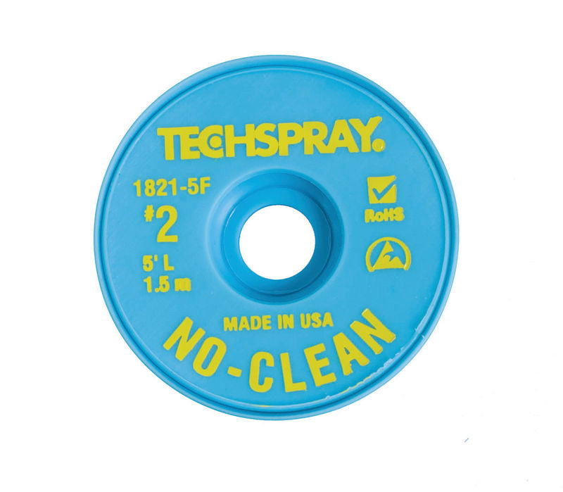 Techspray 1821-5F No-Clean Desoldering Braid  #2 Yellow with Anti-Static Bobbin, 5'