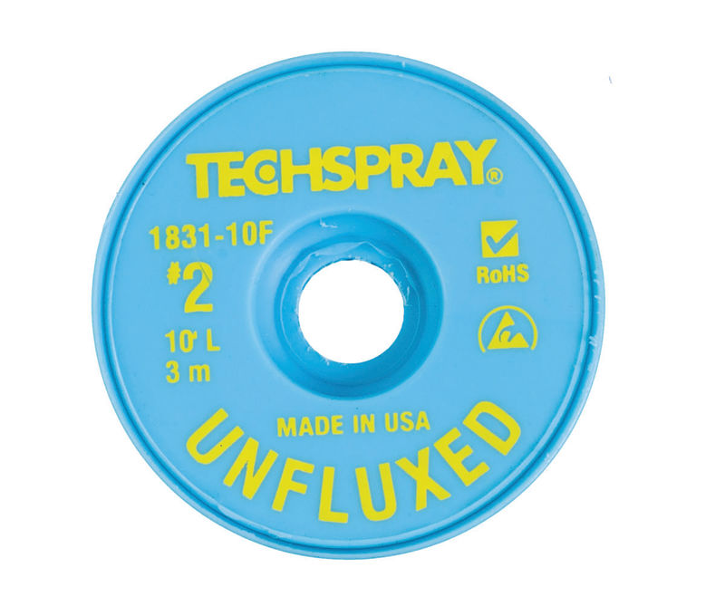 Techspray 1831-10F Unfluxed Desoldering Braid  #2 Yellow with Anti-Static Bobbin, 10'