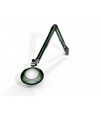 "O.C. White 22400-4-RG LED 5"" Round 4-Diopter Magnifier w/Edge Clamp, Racing Green"