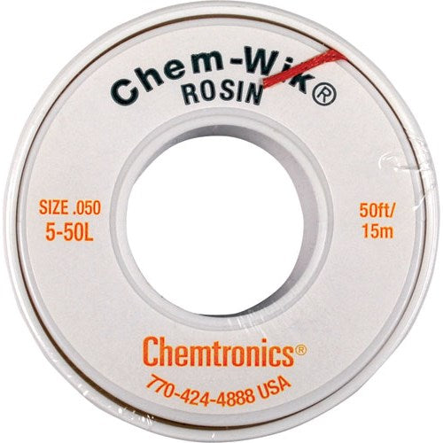 "Chemtronics 5-50L Desoldering Braid, .050"" x 50' Yellow"